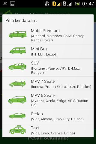 4 Memilih tipe mobil